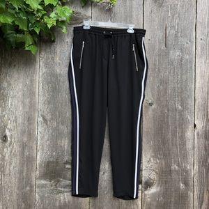H&M black racer stripe athleisure track pants A35